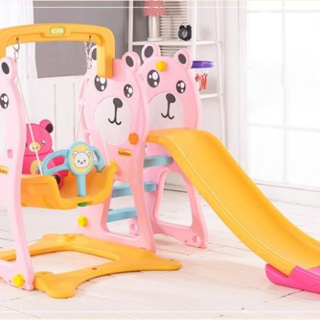 Bô cầu trượt trẻ em và xích đu liên hoàn hình gấu màu hồng TH072018-CT04